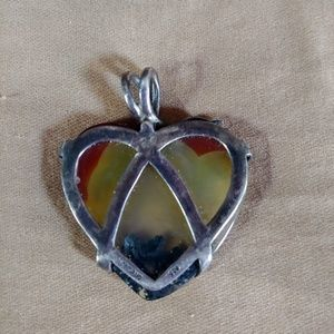 Vintage Jewelry - Stunning Heart Stone Pendant with Silver Accents
